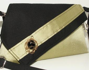 Handmade silk, cotton shoulder bag, handbag. Wire-wrap embellished. Green, black, copper. Anne Artisan Bag by Lella Rae on Etsy