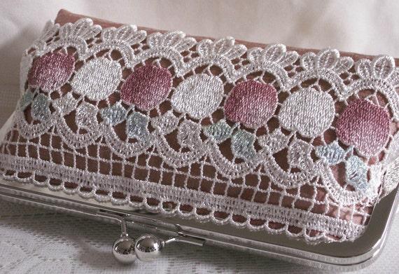 Handmade silk, lace clutch handbag. Pink, peach, white, green, red. FRESH APPLES by Lella Rae on Etsy