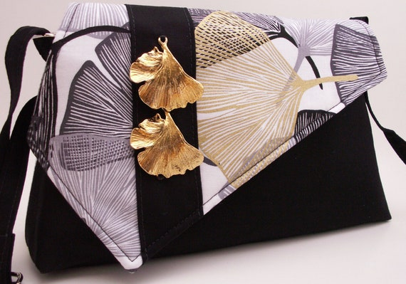 Handmade cotton shoulder bag, handbag. Gold, black, white. Ginkgo Tree Artisan Bag by Lella Rae on Etsy