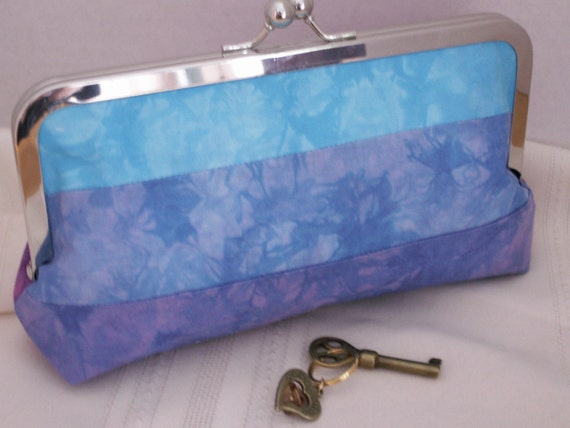 Handmade, hand-dyed, patchwork clutch. Pink, purple, blue. MIRROR POOL by Lella Rae
