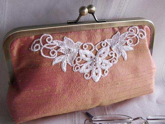 Handmade embellished silk clutch. Iridescent pink, yellow, coral. FRESH MANGO by Lella Rae