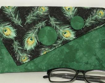 Handmade cotton clutch, shoulder bag. Green, yellow, black, aqua. Peacock Envy Lella's Bag by Lella Rae on Etsy