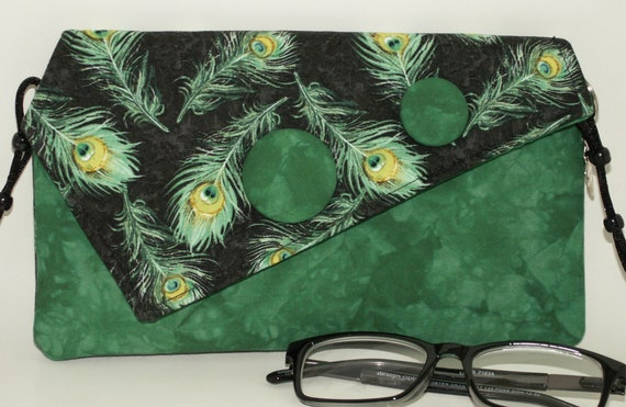 Handmade cotton clutch, shoulder bag. Green, yellow, black, aqua. Peacock Envy Lella's Bag by Lella Rae on Etsy