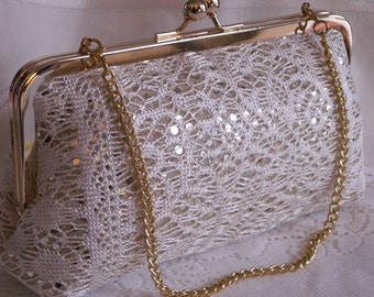 Handmade, lace, sequin clutch handbag. Cream, gold. LADY SUSAN clutch by Lella Rae on Etsy