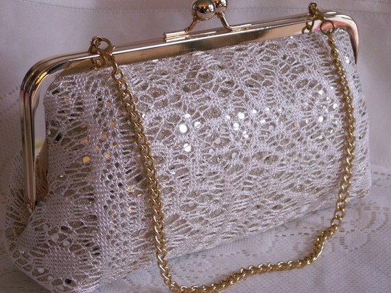 Handmade, lace, sequin clutch handbag. Cream, gold. LADY SUSAN clutch by Lella Rae