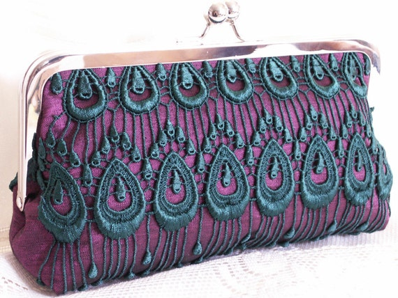 Handmade silk, lace clutch handbag. Purple, emerald, teal. ROYAL PURPLE by Lella Rae