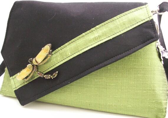 Handmade silk, cotton shoulder bag, handbag embellished with dragonfly pin. Green, black, gold. Dragonfly Artisan Bag by Lella Rae
