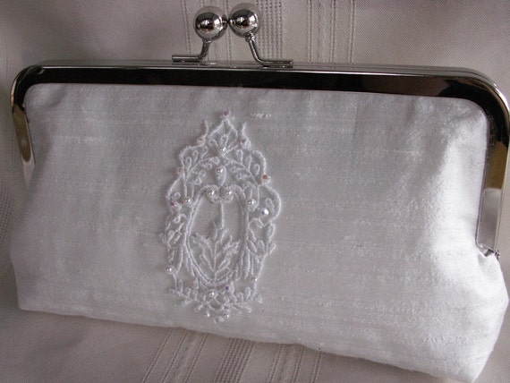 Handmade embellished silk clutch handbag. White. CINDERELLA'S WEDDING by Lella Rae