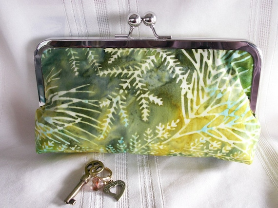 Handmade Indonesian batik clutch. Yellow, aqua, green. SUNNY GARDEN by Lella Rae