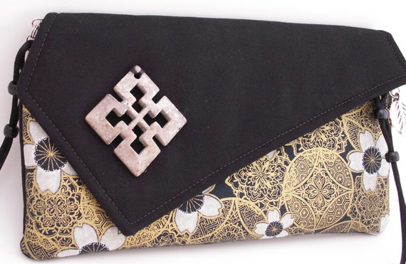 Handmade cotton clutch, shoulderbag. Black, gold, white. Dynasty Lella's Bag by Lella Rae on Etsy