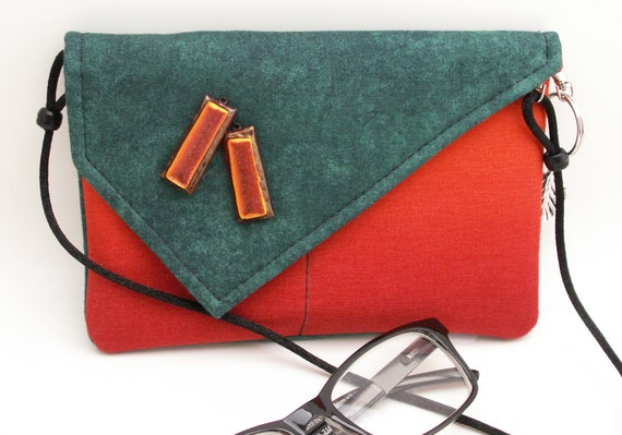 Handmade cotton, glass shoulder bag, handbag. Orange, green. Orange Glass Mini Bag by Lella Rae on Etsy