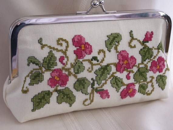 Handmade, hand embroidered evening clutch. Pink, green. PINK BEGONIA by Lella Rae
