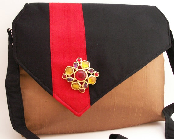 Handmade shoulder bag, handbag. Silk, cotton. Red, black, brown. Stained Glass iBag by Lella Rae on Etsy