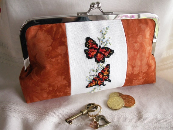 Handmade, hand embroidered, hand dyed clutch. Orange, red, gold. BUTTERFLY QUEEN by Lella Rae