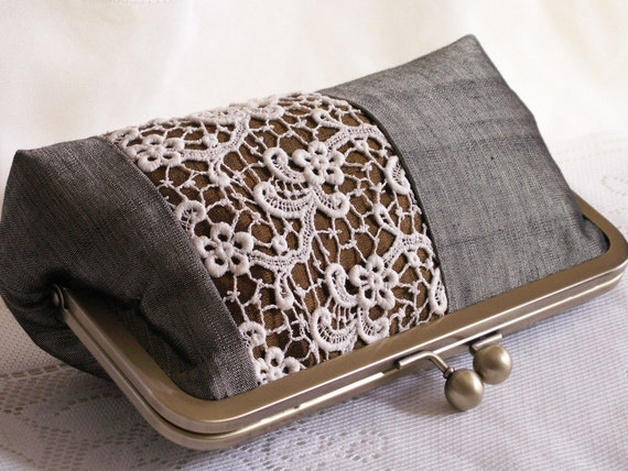 Handmade silk, lace clutch handbag. Green, sage, brown, gold, cream. OPERA by Lella Rae