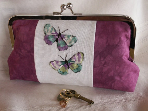 Handmade, hand embroidered, hand dyed evening clutch. Plum, lavender, aqua. BUTTERFLIES by Lella Rae