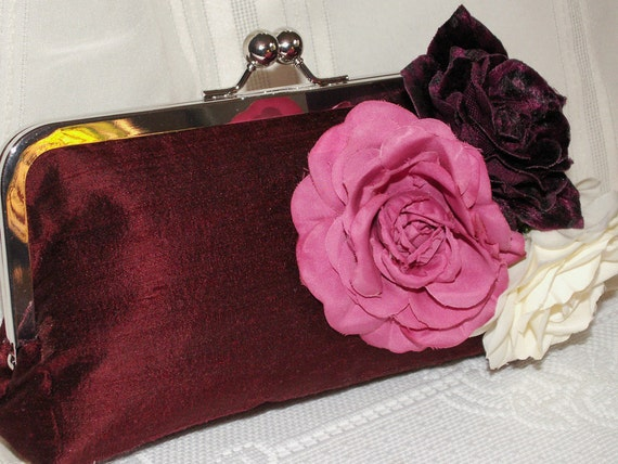 Handmade silk clutch handbag. Fabric flowers. Pink, burgundy, cream. BOUQUET by Lella Rae