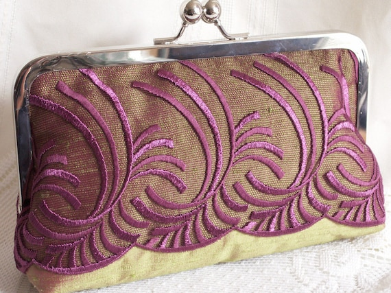 Handmade silk, embroidered tulle overlay clutch handbag, shoulderbag. Purple, lilac, green, chartreuse. KATHERINE by Lella Rae