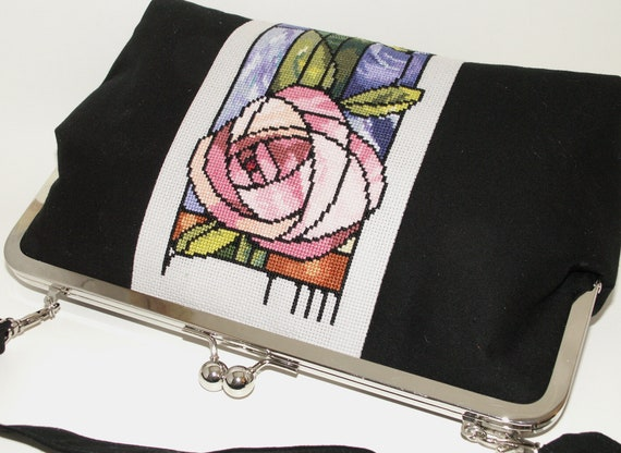 Handmade, hand embroidered shoulder bag handbag. Cotton and silk. Mackintosh Rose Art Nouveau Celebrity Bag by Lella Rae on Etsy.