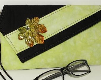 Handmade cotton clutch, shoulder bag. Green, black, orange, gold. Maple Leaf Lella's Bag by Lella Rae on Etsy