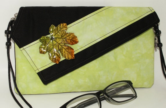 Handmade cotton clutch, shoulder bag. Green, black, orange, gold. Maple Leaf Lella's Bag by Lella Rae on Etsy