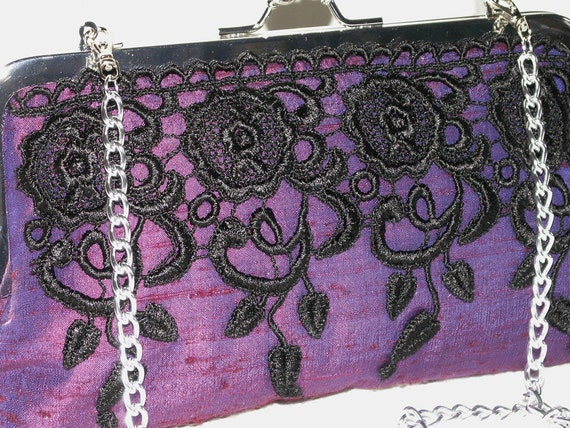 Handmade silk, lace clutch handbag. Purple, blue, black. ENCHANTRESS by Lella Rae