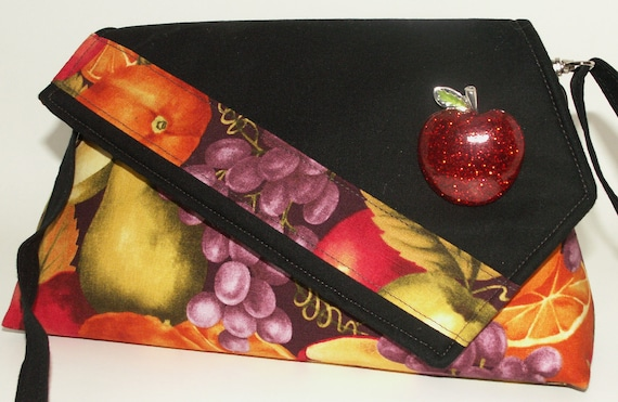 Handmade cotton shoulder bag, purse. Red, yellow, orange, gold, green. Apple Artisan Bag by Lella Rae