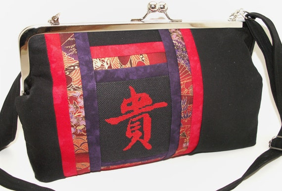 Handmade, hand embroidered, cotton shoulder bag, handbag. Red, black, purple, gold. HONOR Celebrity Shoulder Bag by Lella Rae on Etsy