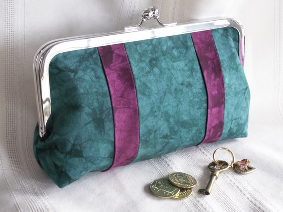 Handmade, hand dyed, patchwork clutch. Teal, magenta. STYLE by Lella Rae