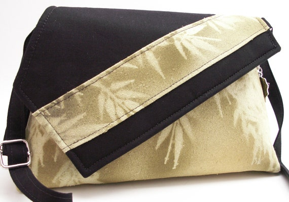 Handmade silk, cotton shoulder bag, handbag. Green, yellow, gold, black. Sweet Bamboo Artisan Bag by Lella Rae on Etsy