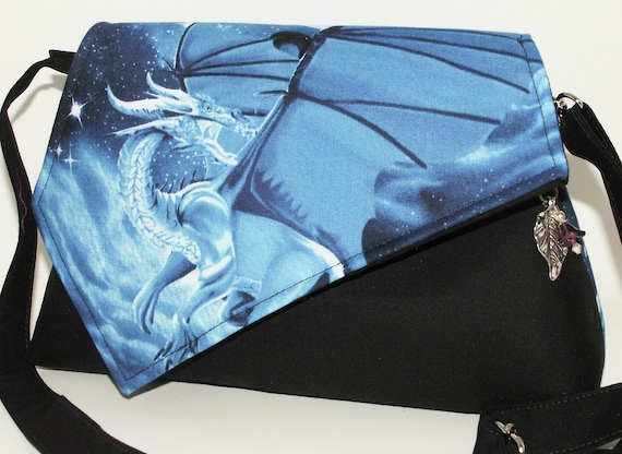 Handmade cotton shoulder bag handbag. Blue, white, black. Dragon Star Artisan Bag by Lella Rae on Etsy