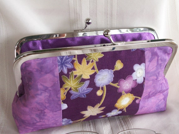 Handmade, hand dyed, patchwork clutch. Magenta, gold, green, purple. ASIAN TREASURE by Lella Rae