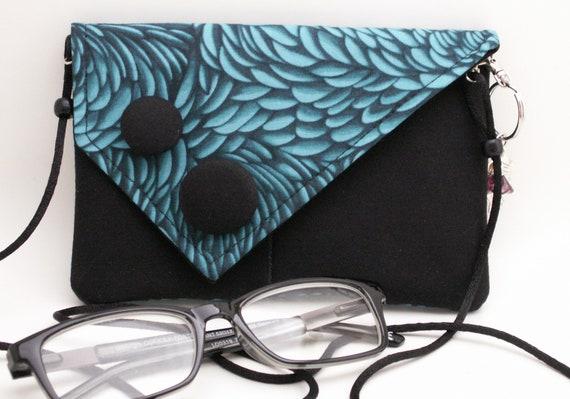Handmade cotton shoulder bag, clutch handbag. Blue, black. Bluegrass Mini Bag by Lella Rae on Etsy