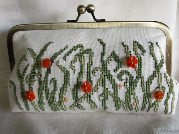 Handmade, cross stitched, beaded clutch. Green, orange. FIELD FLOWERS by Lella Rae