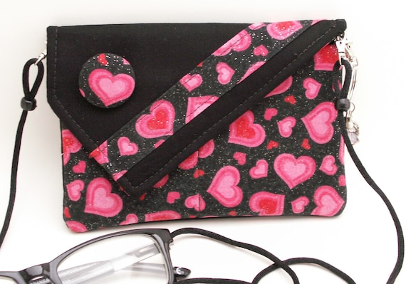 Handmade cotton shoulder bag, handbag. Red, pink, black. Sweetheart Mini Bag by Lella Rae on Etsy