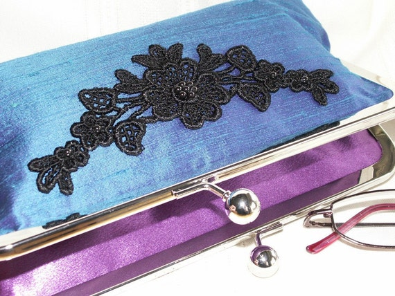 Handmade silk, Venice lace, pearl clutch. Teal, black. SINFUL by Lella Rae