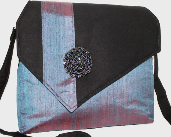 Handmade silk, cotton shoulder bag, handbag. Black, blue, purple. Beaded Rose iBag by Lella Rae on Etsy