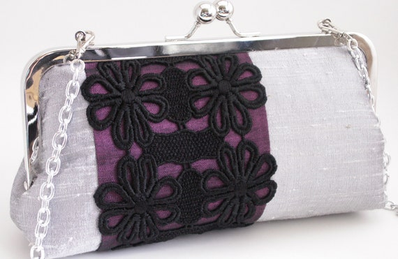 Handmade silk, lace clutch, shoulderbag, handbag. Silver, purple, lavender, black. NIGHT AND DAY clutch by Lella Rae