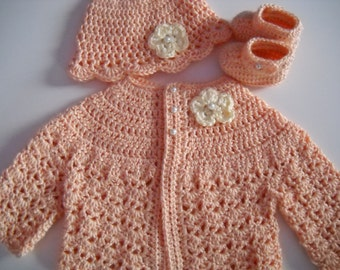 7fcd7c8cc231 Items similar to Crochet Baby Sweater Hat Booties Set Plum 3 to 6 ...