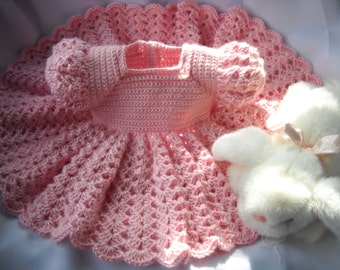 Pink Princess Baby Dress Crochet infant 3 to 6 months