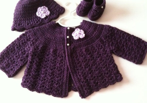 fab319769708 Crochet Baby Sweater Hat Booties Set Plum 3 to 6 months