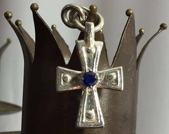 Vintage Sterling Silver Cross With Sapphire Gemstone