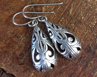 Sterling Silver Filigree Drop Earrings Vintage