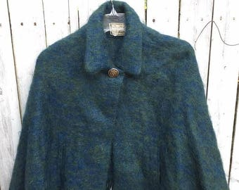 Green & Blue Mohair Wool Vintage Winter Cape