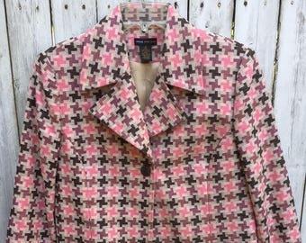 Vintage Grace Dane Lewis Pink Houndstooth Blazer