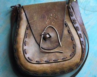 Vintage Brown Leather Handbag