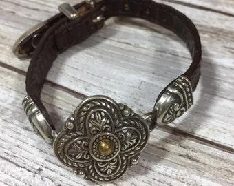 Vintage Brighton Brown Leather & Silver Medallion Bracelet