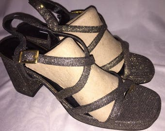 596eb409ea4eab Amanda Smith Silver Disco Shoes Pizzaz Women Chunky Heels 8.5