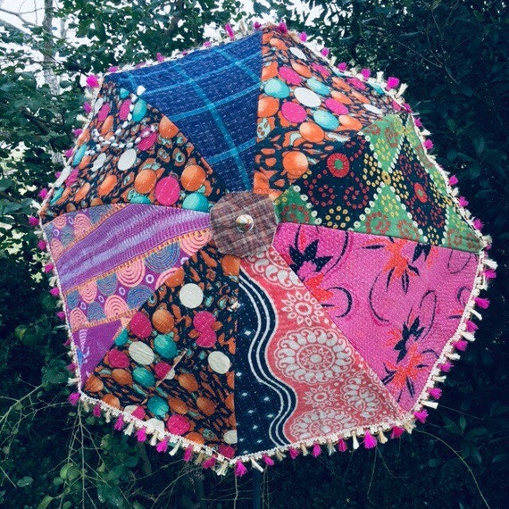 Vintage India Patchwork Fabric Boho Parasol