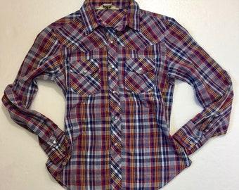 Vintage Plaid Shirt 11/12 Women Medium Heres a Hug